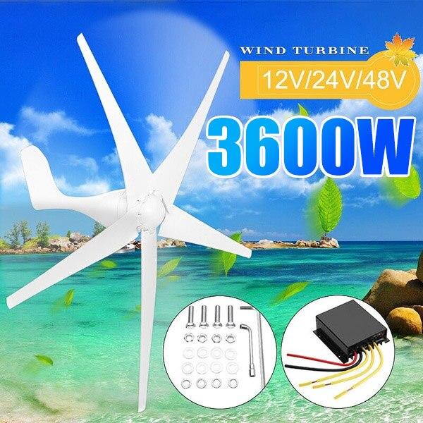 Générateur de Turbines éoliennes 3600W 12/24/48V 3/5 Option de pales éoliennes avec contrôleur de Charge étanche adapté à la maison ou au Camping