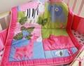 Bebê meninas rosa de cama berço cama de algodão bordado elefante hipopótamo zebra girafa berço cama set Quilt Bumper