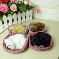 Lovely Simulation Sounding Sleeping Dog Plush Toy with Nest Birthday Christmas Gift Cute Dog Stuffed Animals Gifts For kids