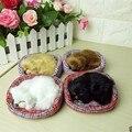 Precioso Simulación Sonido Dormir Perro de Juguete de Felpa con Nido Perro Lindo Animales de Peluche Regalos de Cumpleaños Regalo de Navidad Para los niños