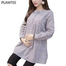 Рубашки для беременных женщин с бантом, весенние топы и блузки с длинным рукавом для беременных, модная полосатая повседневная одежда для беременных, Размеры M~ XXL Camisa