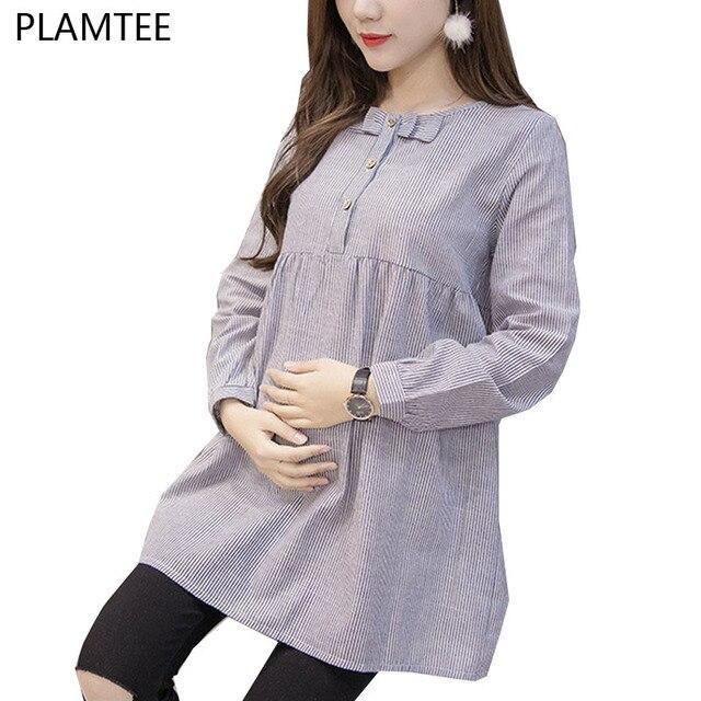 3944cee8d0aac قمصان للنساء الحوامل القوس ملابس علوية بأكمام طويلة للربيع الحمل قمم و  البلوزات أزياء مخطط ملابس