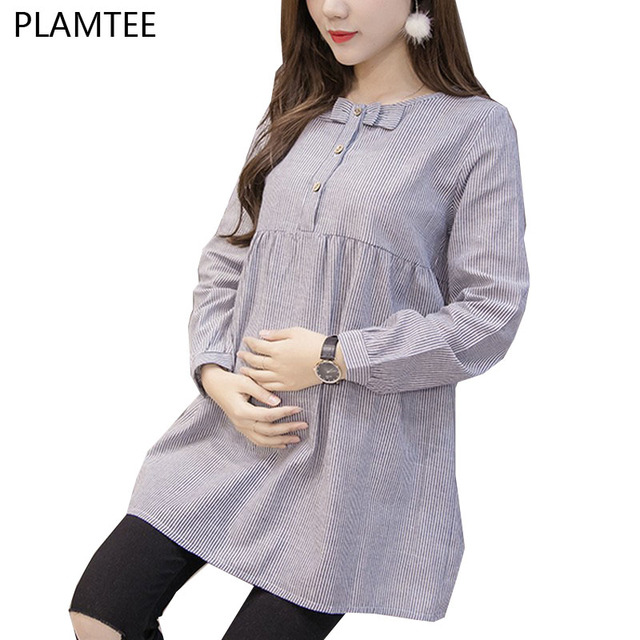 9b791f33e8b47 Shirts For Pregnant Women Bow Spring Long Sleeve Pregnancy Tops&Blouses  Fashion Striped Maternity Clothes Casual M~XXL Camisa