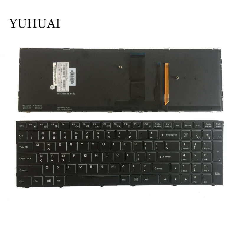 NEW US keyboard for Clevo NP8151 NP8152 NP8153 English laptop keyboard with backlight laptop keyboard for clevo p157sm p177sm black it italy v132150bk3