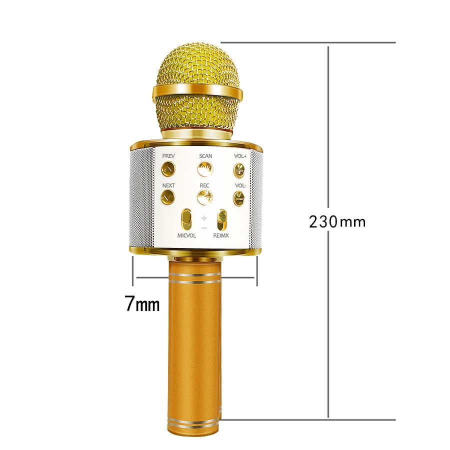WS-858 Bluetooth беспроводной микрофон ручной караоке микрофон USB мини домашний KTV для воспроизведения музыки пение динамик плеер
