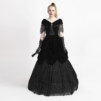 Готическое черное сексуальное женское платье с глубоким v образным вырезом вельвет Длинные вечерние платья стимпанк с открытыми плечами се