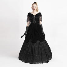 Gothic Black Sexy Deep V-Neck Velveteen Long Dress Steampunk Off Shoulder Sexy Lace Party Dresses