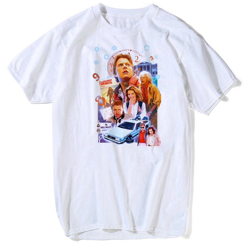 Back To The Future Cotton O-Neck White T Shirt Men Hot Stephen King homme Tee shirts Clown Custom <font><b>Pennywise</b></font> Print <font><b>tshirt</b></font> image