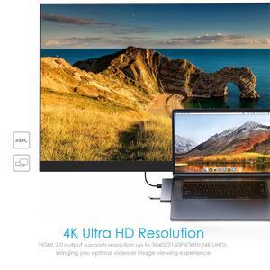"""Image 5 - Adaptateur de Dock Multiport USB C Hub pour Apple MacBook Pro 13 """"& 15"""" 2016,2017,2018,MacBook Air 2018,HDMI 4K, alimentation 100W, 40Gbp"""
