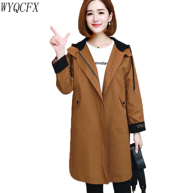 Oversized Long   Trench   Coat Women Casual Loose Hooded Outerwear Female Overcoat Tops 2019 New Spring Autumn Korean Cotton Coats