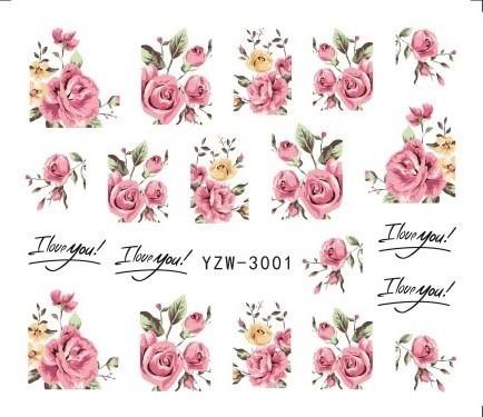 1 Sheets 2020 DIY Designer Water Transfer Tips Nail Art Pink Rose Flower Sticker Decals Women Beauty Wedding Nails