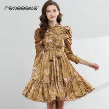 Reneesme pleated women dress floral print long sleeve bow tie sashes vintage ladies dresses summer autumn mini 2019 new vestidos