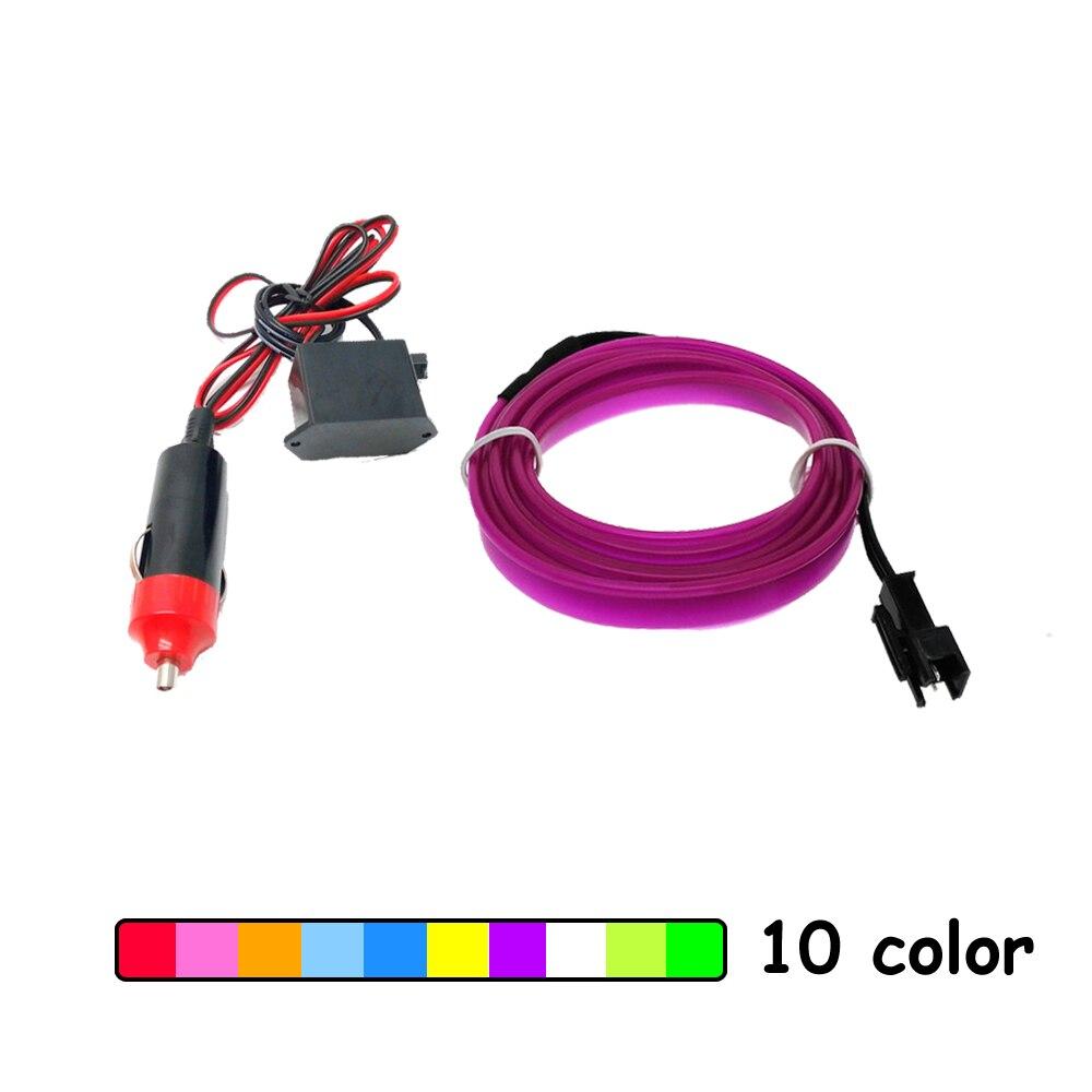 1 m / 2 m / 3 m / 5 m 6mm Borda De Costura Luz Neon Car Decor Lighting Flexível El Fio Tubo de Corda LEVOU Tira do Carro Do Cigarro Soquete Mais Leve Plug