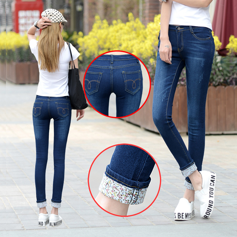 6 EXTRA LARGE Jeans Women Models Two Cuffs Worn Jeans Female Casual Trousers Pencil Pants Jeans Woman High Waist Jeans Plus Size