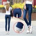 6 EXTRA LATGE Modelos Duas Algemas Desgastado calças Jeans Femininas Casuais calças Calças Lápis calças de Brim da Mulher De Cintura Alta Calça Jeans Coreano Mais tamanho