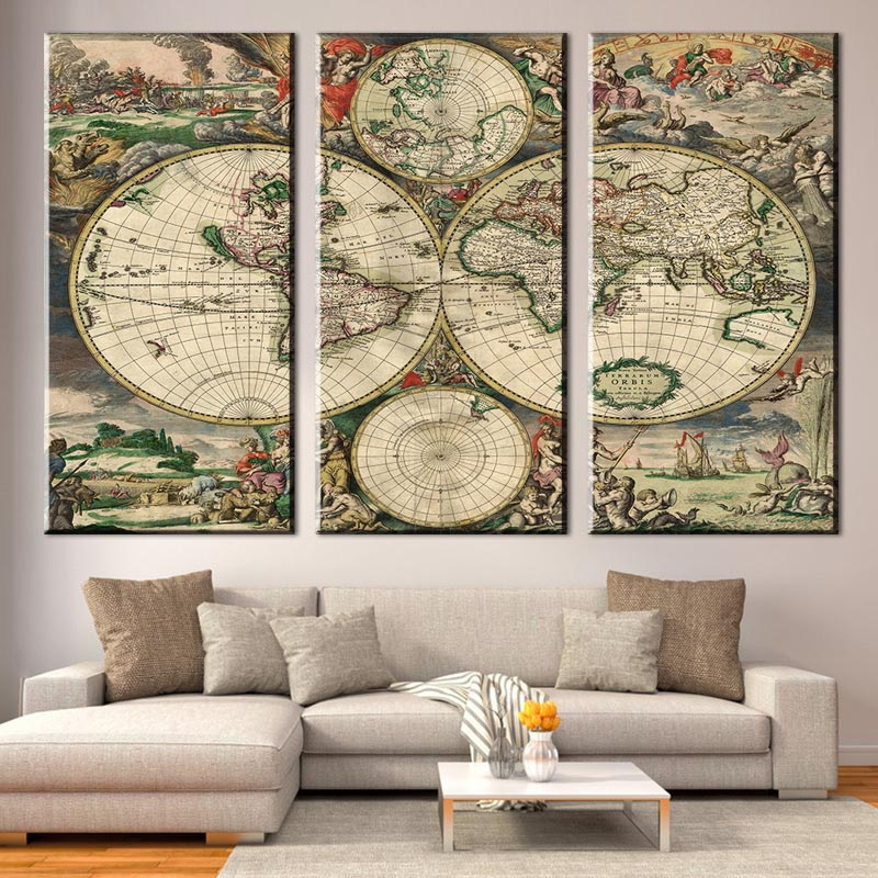 3 pcsset retro europe old world map canvas prints painting amazing 3 pcsset retro europe old world map canvas prints painting amazing abstract world map with figures for living room wall art in painting calligraphy from gumiabroncs Choice Image