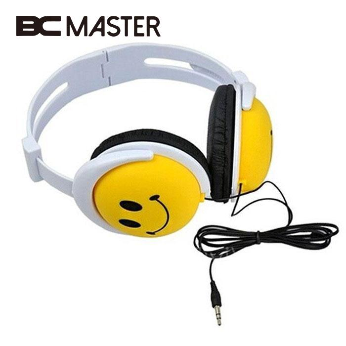BCMaster Smile Face Boys Girls Kid Wired Headphone Earphone Headset For MP3/MP4 Computer Headset 1.2m Cable headphones Boy Gift