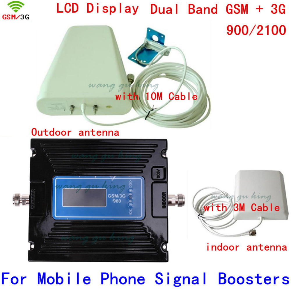 SET LED Band BOOSTER ! High Gain Dual Band 2G,3G Signal Booster KIT GSM 900 3G 2100 SIGNAL Repeater Amplifier Double Signal Bar
