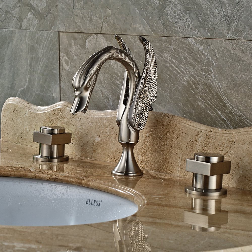 Nickel Brushed Finished Bathroom Tub Faucet With Double Handles Deck Mounted Mixer Tap deck mounted 5pcs widespread bathroom tub faucet with hand shower nickel brushed finished