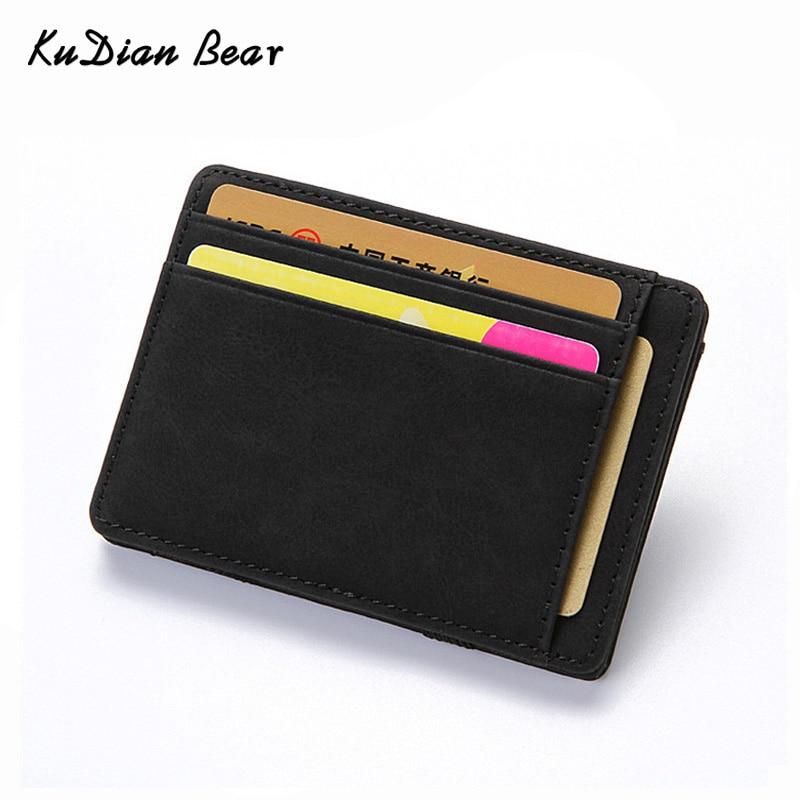 KUDIAN BEAR Nubuck Leather Men Wallets Magic Designer Wallets Small Purse Rfid Card Holder Carteira Masculina BID223 PM49
