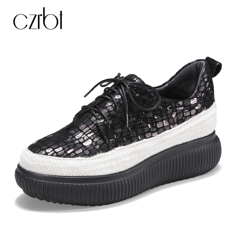 CZRBT High Quality Platform Shoes Women Genuine Sheep Leather Flat Shoes Spring Autumn Casual Lace-Up Increase High Women Shoes women s genuine leather patchwork lace up pumps brand designer thick high heel spring autumn high quality punk shoes for women