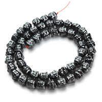 1 hebra/lote nueva gran venta 7x8mm Natural negro piedra de hematita doble cabeza de Buda cuentas sueltas venta al por mayor F2771