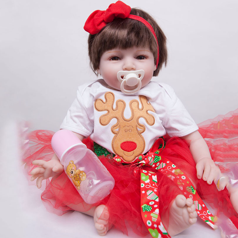 2017 New Silicone Reborn Dolls For Girls Poupee Reborn Cotton Body Baby Alive Brinquedos Baby Doll Toys Lovely Cartoon Gift nillkin protective matte plastic back case for samsung galaxy alpha g850f red