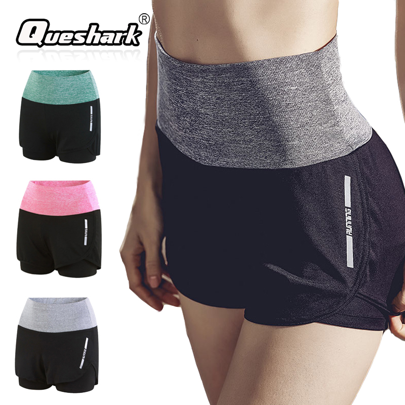 Queshark Women Quick Dry Yoga Double Layer Sport Shorts Outdoor Sports Fitness Gym Yoga Running Shorts