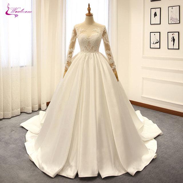 Elegant Silk Wedding Dresses With Sleeves: Waulizane Lustrous Satin Long Sleeves Ball Gown Wedding