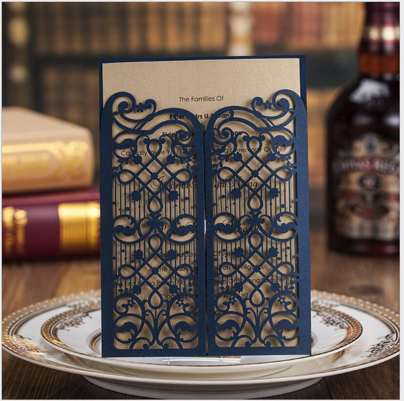 Buy now 2018 New Arrival Eueropean Style Blue Wedding Invitations Wedding Cards Folding Type