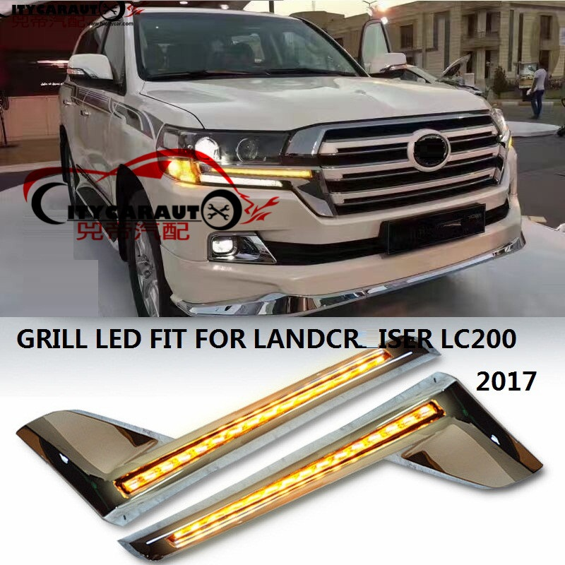 CITYCARAUTO LED CHORMED FRONT RADIATOR GRILLS TRIMS LED WITH DRL +TURNNING FEATURE FIT FOR TOYTA LAND CRUISER LC200 2016 2017CITYCARAUTO LED CHORMED FRONT RADIATOR GRILLS TRIMS LED WITH DRL +TURNNING FEATURE FIT FOR TOYTA LAND CRUISER LC200 2016 2017