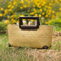 RU&BR Lady Holiday Hand-Woven Straw Bags Women Bags National Wind Bolsa Feminina Fashion Casual Beach Bag Straw Shoulder Handbag