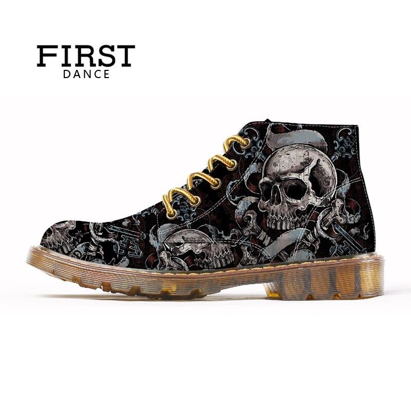 PRIMEIRA DANÇA 2018 Moda Mens Sapatas Do Crânio Para Homens Martins Sapatos Impressão Esqueleto Preto Agradável Homem Oxfords Tornozelo Outono botas