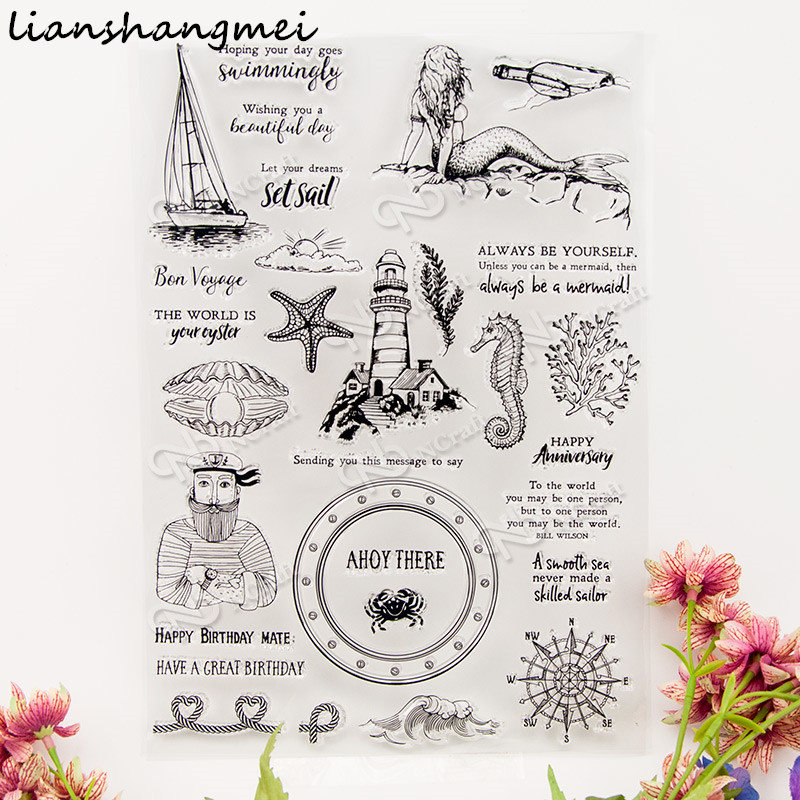 Mermaids Transparent Clear Silicone Stamp/Seal for DIY scrapbooking/photo album Decorative clear stamp W99 lovely animals and ballon design transparent clear silicone stamp for diy scrapbooking photo album clear stamp cl 278
