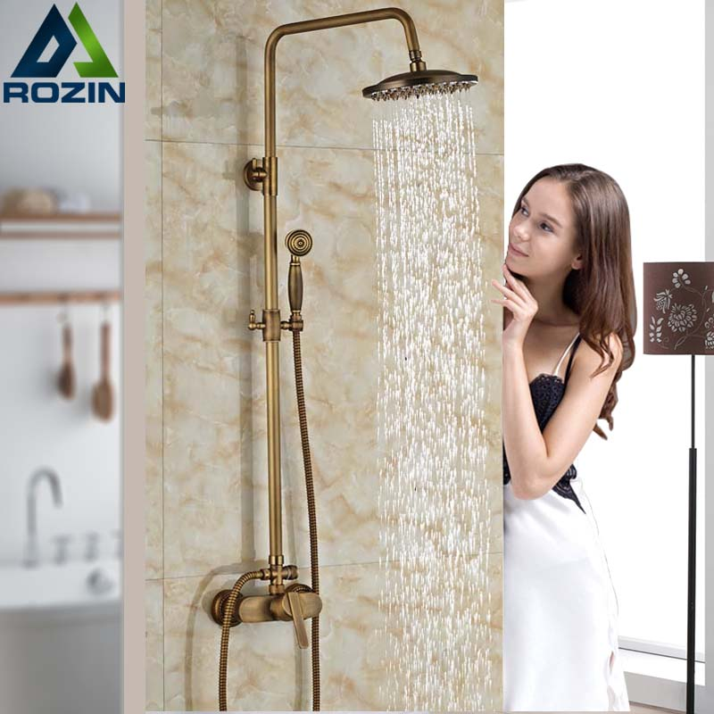 Retro Style Shower Faucet Set Single Handle with Handheld Shower Mixer Taps Wall Mount Antique Brass antique 8 brass rainfall shower faucet set with handheld shower wall mount single handle mixer taps