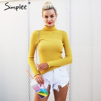 Simplee Casual Turtleneck Knitted Sweater Women Long Sleeve Tricot Pull Femme Jumper 2017 Autumn Skinny Winter
