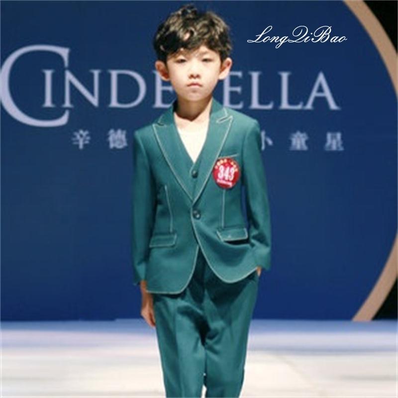 Children's suit three-piece boy suit big boy Korean version of the suit small suit vest jacket boy dress suit lemoniade suit