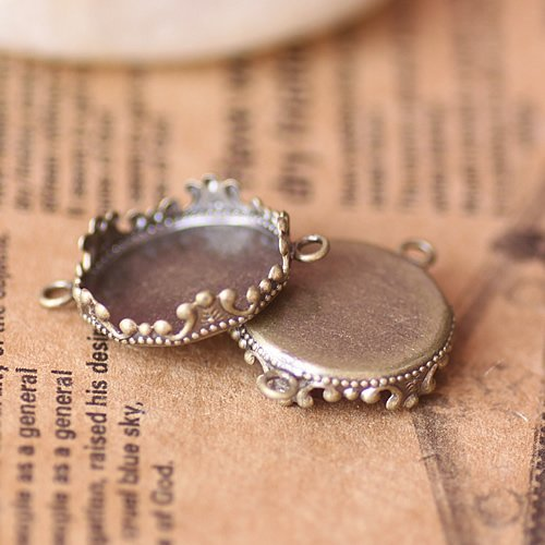 Free shipping!!! 200pcs bronze tone double ring imperial crown Picture Frame charms Pendants 15mm Cameo Cab settings