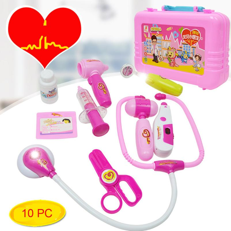 10pcs Kids Baby Doctor Medical Play Carry Set Case Education Role Play Toy Kit Doctor Toys Childrens Suitcases Y1124