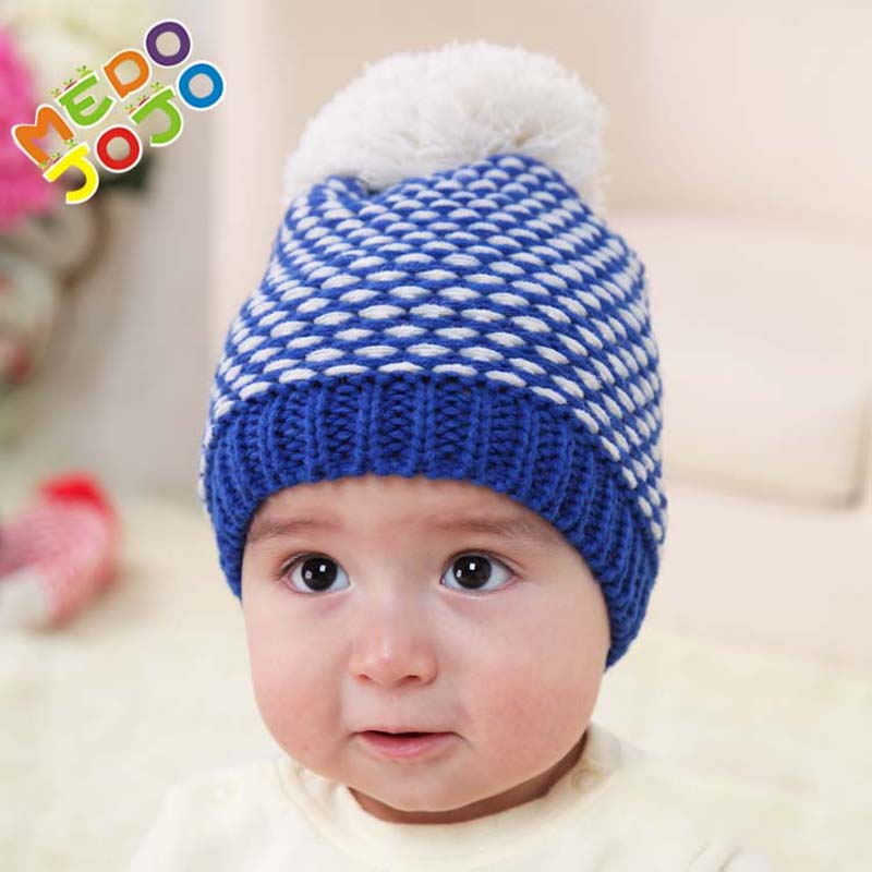 2017 New Winter Baby Cap Knitted Beanie Hat With Pom pom Toddler Kids Caps For Children the new children s cubs hat qiu dong with cartoon animals knitting wool cap and pile