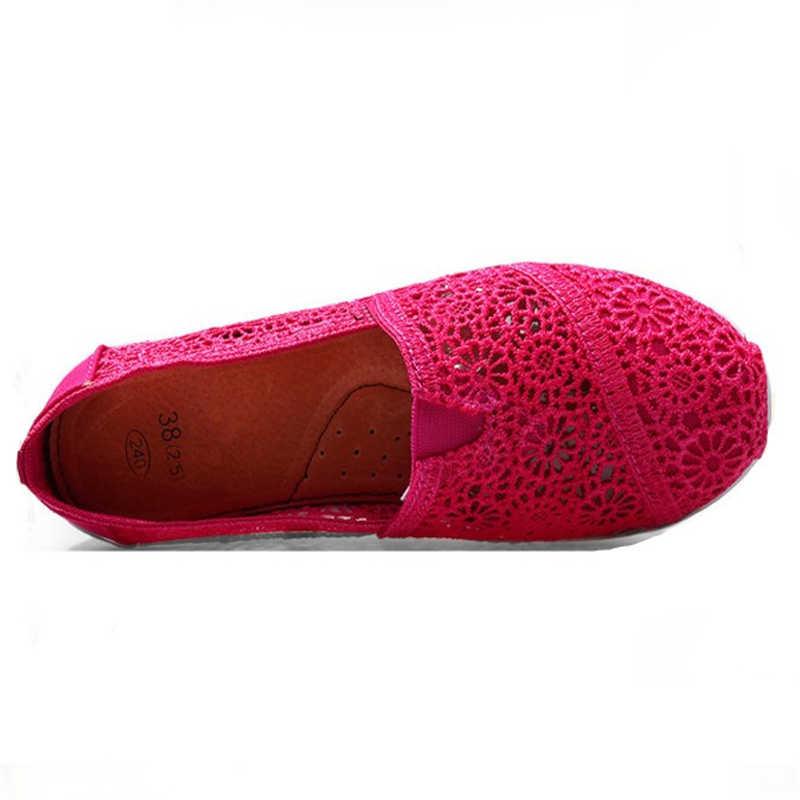JIANBUDAN קל משקל לנשימה נעלי נשים 2020 חדש אופנה קיץ סניקרס הולו פלטפורמת טריז כושר נעלי 35-40 גודל