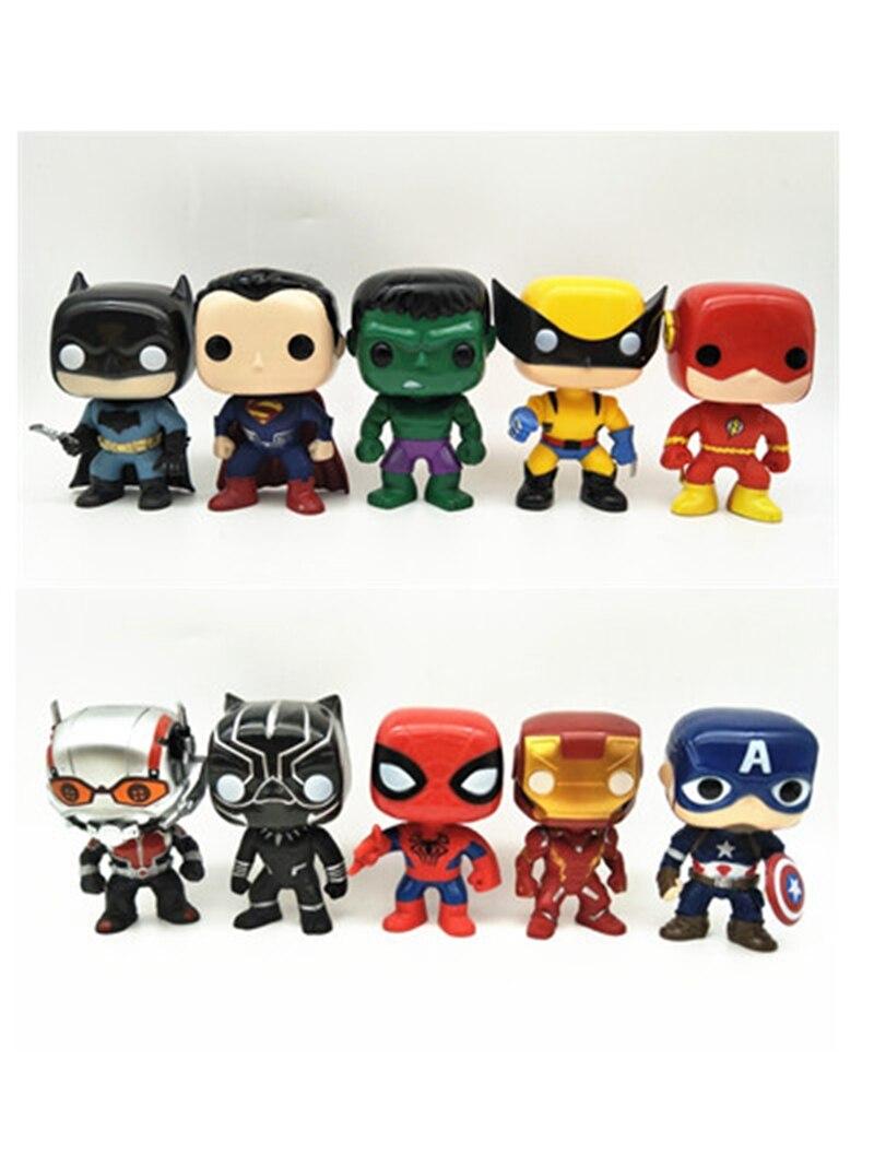 10pcs lot The Avengers Black Panther Deadpool Hulk Superman Batman Wolverine Captain America Iron Man POP