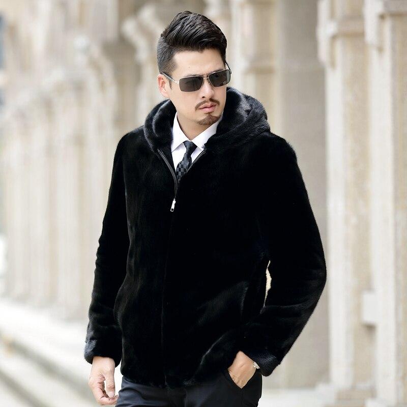 2018 nouvelle arrivée hommes de fourrure de vison real manteau avec capuche plus size casual noir de fourrure de vison veste