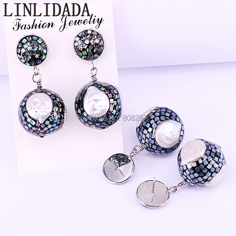 4Pair New Arrival Tiny Abalone Shell And Freshwater Pearl Round Ball Dangles Earrings Women Charm Earring-in Drop Earrings from Jewelry & Accessories    2