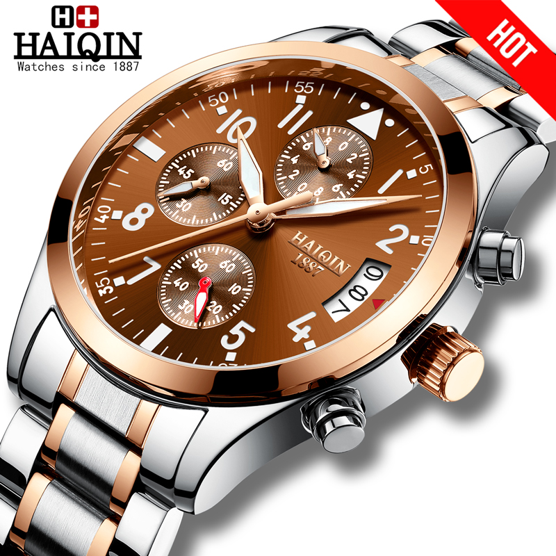 HAIQIN Men's Watches Sports Mens Watches Top Brand Luxury Watch Men Quartz Military Wrist Watch Men Waterproof Relogio Masculino