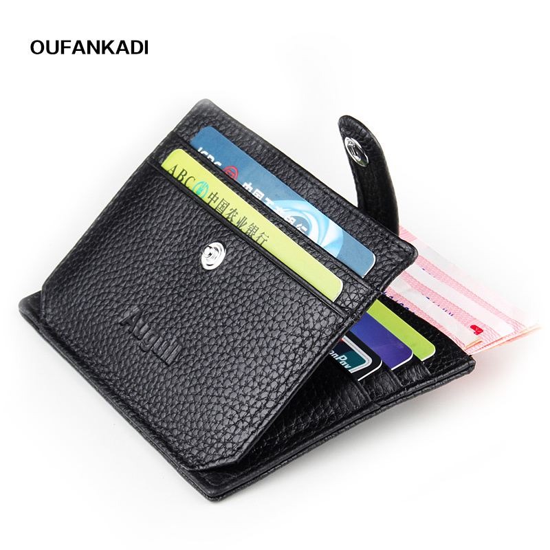 Oufankadi Credit Card Genuine Leather Woman Wallet Slim Hasp Small Wallet Mini Coin Purse Woman Card Holder casual weaving design card holder handbag hasp wallet for women