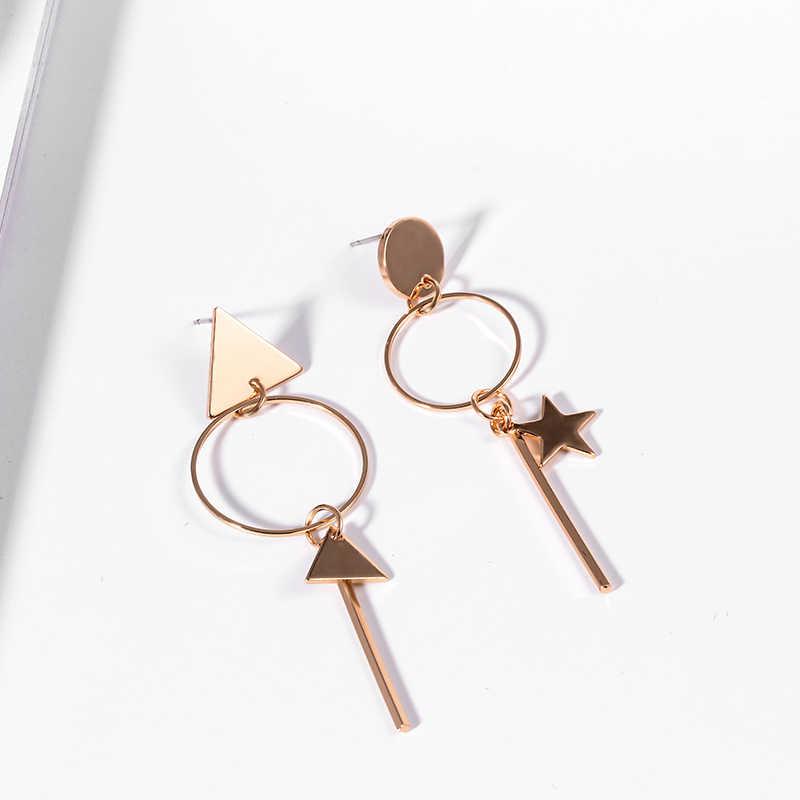 SUKI Aretes de Mujer Modernos 2018 Asymmetrische Hängen Sterne Dreieck Lange Anhänger Ohrringe für Frauen Kleine Kreis Stud Ohrringe