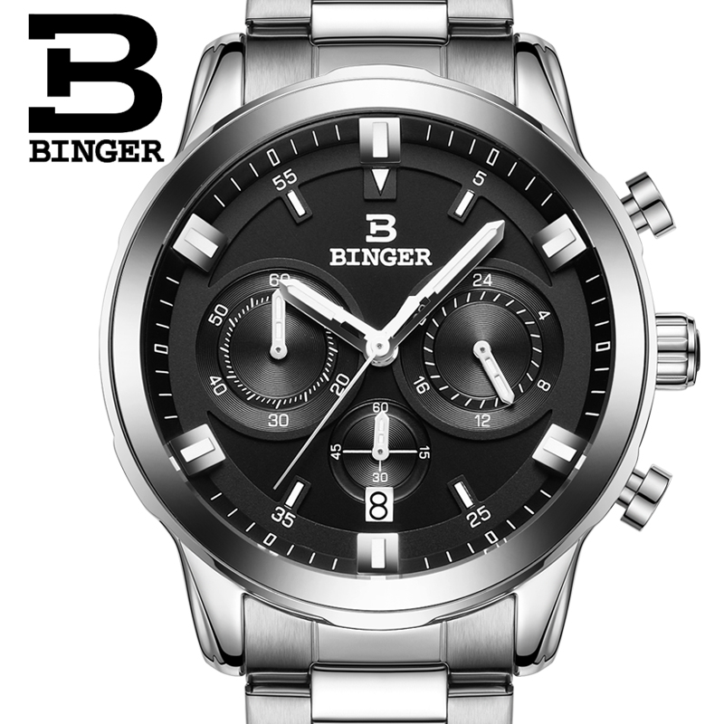 2017 Switzerland luxury watch men BINGER brand quartz full stainless Wristwatches Chronograph Diver glowwatch B9011-2 2017 switzerland luxury relogio masculino binger brand quartz full stainless wristwatches chronograph diver clock b9011 2
