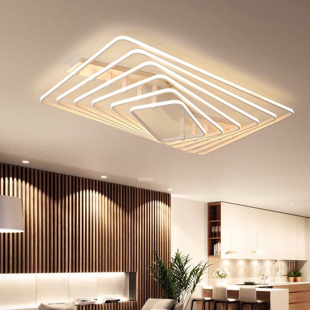 living room led lighting peach color paint white square light modern ceiling lights bedroom study home decoration remote control dimming lamp