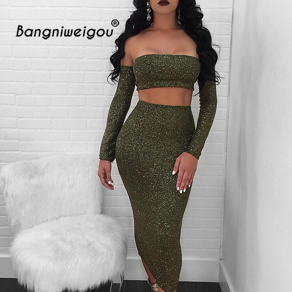 Bangniweigou Off Shoulder Shiny Tube Top Dress Set 2 pieces Women Fall New Glitter Bandeau Pencil Club Green